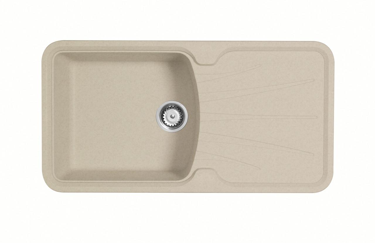 Прямоугольная мойка для кухни из гранита с крылом LONGRAN PREMIUM KORONA 1.0  Island Sand