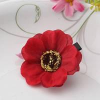 Заколка цветок красная/бижутерия/цвет красный