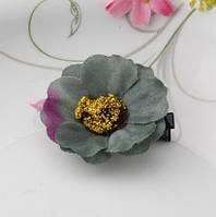 Заколка цветок серая/бижутерия/цвет серый