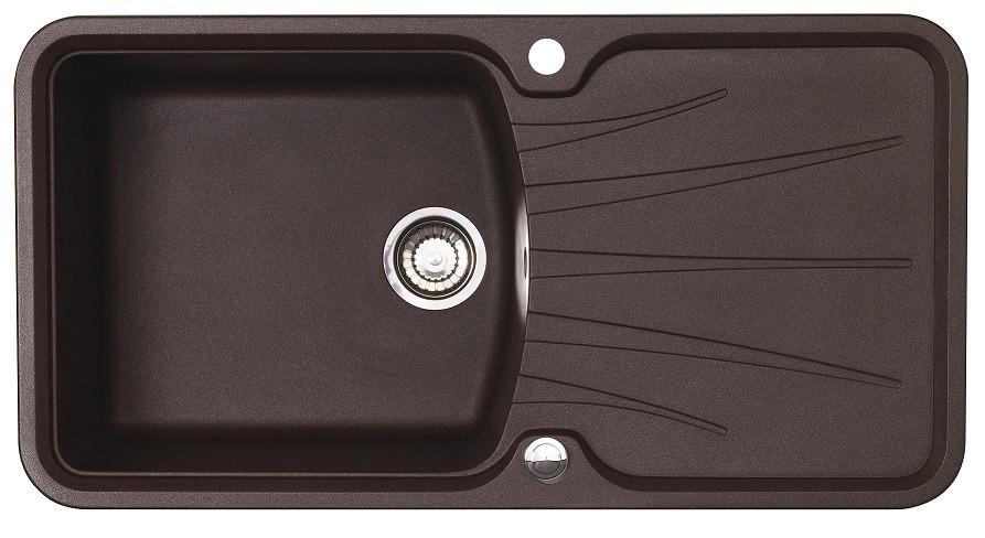 Гранитная прямоугольная мойка в кухню с крылом LONGRAN PREMIUM KORONA 1.0 Chocolate Metallic