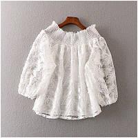 Женская нарядная белая кофточка из гипюра с вышивкой