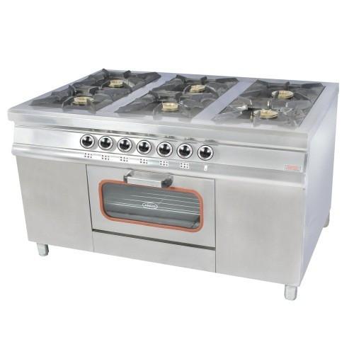 Плита газовая 6-ти конфорочная с духовым шкафом и газовым контроллером Pimak МО15-6 (конф. 40х40)