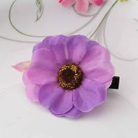 Заколка цветок фиолетовая/бижутерия/цвет фиолетовый
