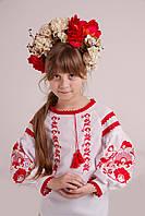 Сорочка дитяча МВ-10 червоний, домоткане полотно