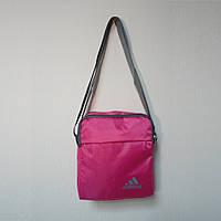 Барсетка Adidas текстильная средняя с двумя отделениями розово-серая