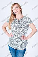 Женская летняя блуза из штапеля, короткий рукав белая