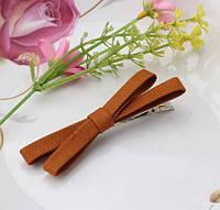 Заколка Бантик  коричневая/бижутерия/цвет коричневый