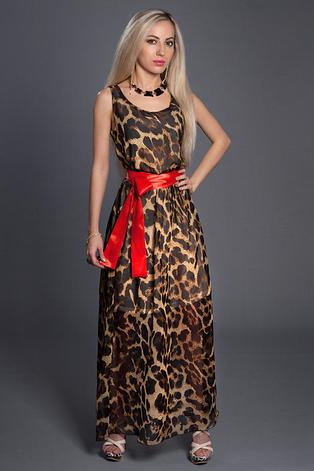3fc503facb2 Летний красивый шифоновый сарафан в пол с леопардовым принтом ...