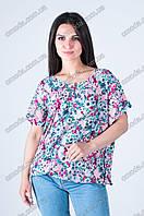 Летняя женская блуза с цветочным принтом розовая