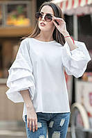 Молодежная белая блуза ФЕЛЛИНИ с фактурными защипами