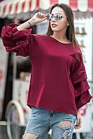 Блуза ФЕЛЛИНИ с фактурными защипами цвет вишневый