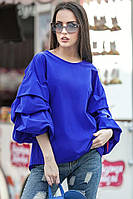 Блуза ФЕЛЛИНИ с фактурными защипами цвет синий
