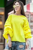 Стильная желтая блуза ФЕЛЛИНИ с фактурными защипами