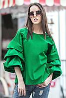 Молодежная зеленая блуза ФЕЛЛИНИ с фактурными защипами