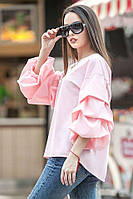 Розовая блуза ФЕЛЛИНИ с фактурными защипами