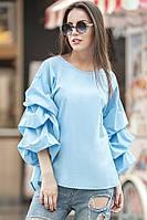 Голубая блуза ФЕЛЛИНИ с фактурными защипами