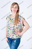Летняя женская блуза с цветочным принтом желтая