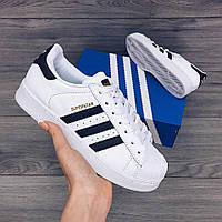 Женские кроссовки Adidas Superstar Originals Black/Gold (Реплика AAA+)