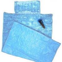 Пляжный коврик с подголовником 80х150 Велюр голубой