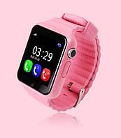 Детские умные часы+Smart watch V7K, влагозащита Bluetooth, камера, музыка, карта памяти! Гарантия 12 мес. Розовые
