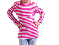 Футболка в полоску детская для девочек и мальчиков длинный рукав розовая серая трикотажная хлопок (Украина)