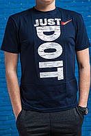 """Мужская черная футболка с надписью Nike """"Just do it"""" Navy/White"""