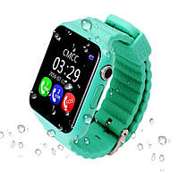 Детские умные часы+Smart watch влагозащита V7K, Bluetooth, камера, музыка, карта памяти! Гарантия 12 мес. Бирюза