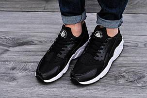 Мужские кроссовки в стиле Nike Air Huarache Black White черно-белые, фото 2