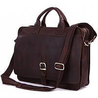 TIDING BAG сумка для документов мужская в темно коричневом цвете и натуральной кожи  (6020)