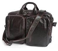 Деловая мужская кожаная Cумка-рюкзак J&M в коричневом цвете (7014Q-2 )