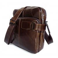 TIDING BAG Сумка через плечо из натуральной кожи в темно коричневом цвете  (6012)