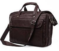 JASPER & MAINE Деловая мужская сумка из натуральной кожи в коричневом цвете (7146C-1)