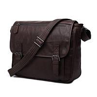 Мужская сумка почтальонка через плечо Jasper&Maine из натуральной кожи в коричневом цвете (7022C)
