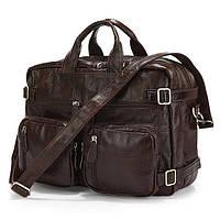 Сумка-рюкзак Jasper&Maine  из натуральной кожи в темно коричневом цвете (7061C)