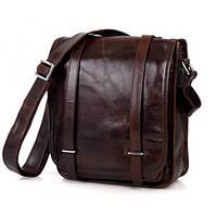 Наплечная сумка для мужчин, натуральная кожа в темно коричневом цвете TIDING BAG (7109C)