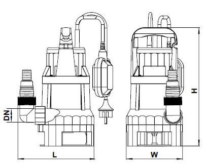 Бытовой дренажный насос Aquatica 773224 размеры_2