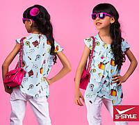 Яркая детская блузка с принтом