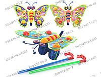 Каталка 305 на палке, бабочка-погремушка, машет крыльями, 3 вида, в кульке 27*20*8 см, веселые прогулки малыша