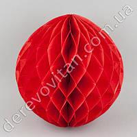 Бумажный шар-соты, красный, 25 см