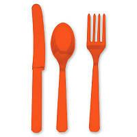 Столовые приборы оранжевые, ложки, вилки, ложки