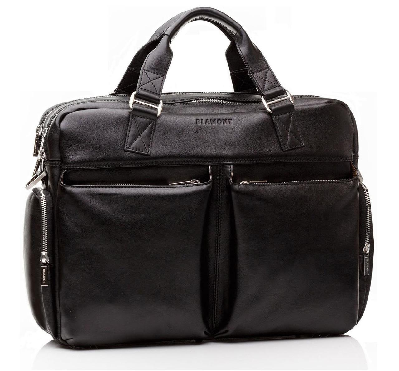 Мужская деловая сумка Blamont в горизонтальном стиле из люксовой натуральной кожи в черном цвете Bn002A