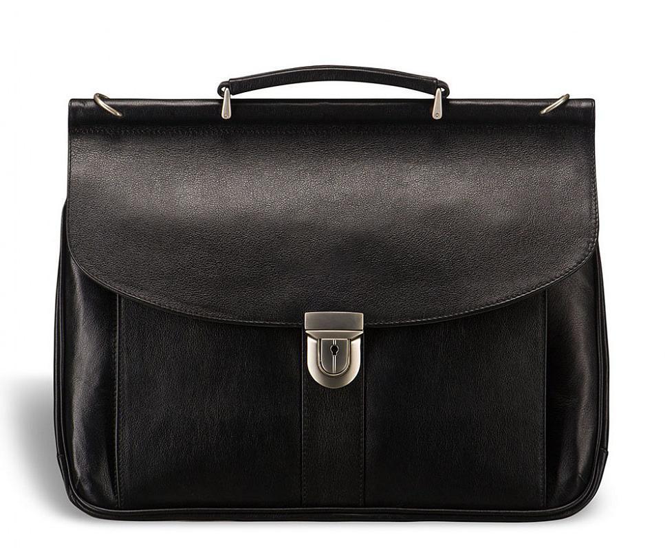 Мужской кожаный деловой портфель в черном цвете горизонтального формата Blamont Bn017A
