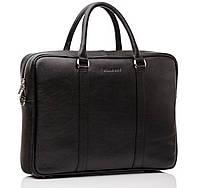 Сумка для ноутбука от модного бренда Blamont натуральная кожа черного цвета (Bn022A)