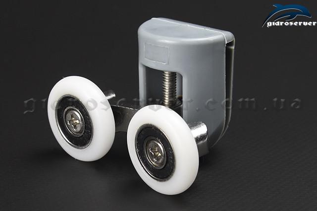 Верхние, опорные ролики для душевых кабин, гидромассажных боксов B-43C двойные с размерами колес от 19 до 27 мм.