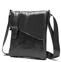 Красивая мужская сумка из натуральной кожи в черном цвете с наплечным ремнем BEXHILL (BX9035A)