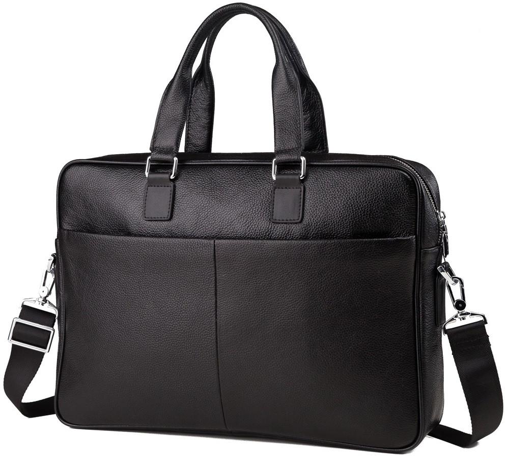 Сумка для ноутбука из натуральной кожи в черном цвете TIDING BAG (M2164A)