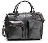 Мужская кожаная сумка для документов в черном цвете TIDING BAG (GB331A)