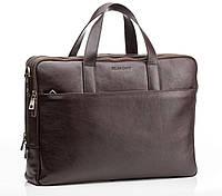 Деловая мужская сумка Blamont из натуральной кожи в коричневом цвете Bn070C