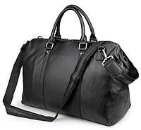 Вместительная дорожная сумка Jasper&Maine из натуральной кожи в черном цвете (7322A)