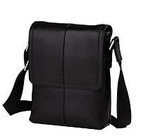 Черная мужская сумка-мессенджер из натуральной кожи с наплечным ремнем TIDING BAG (M1506A)